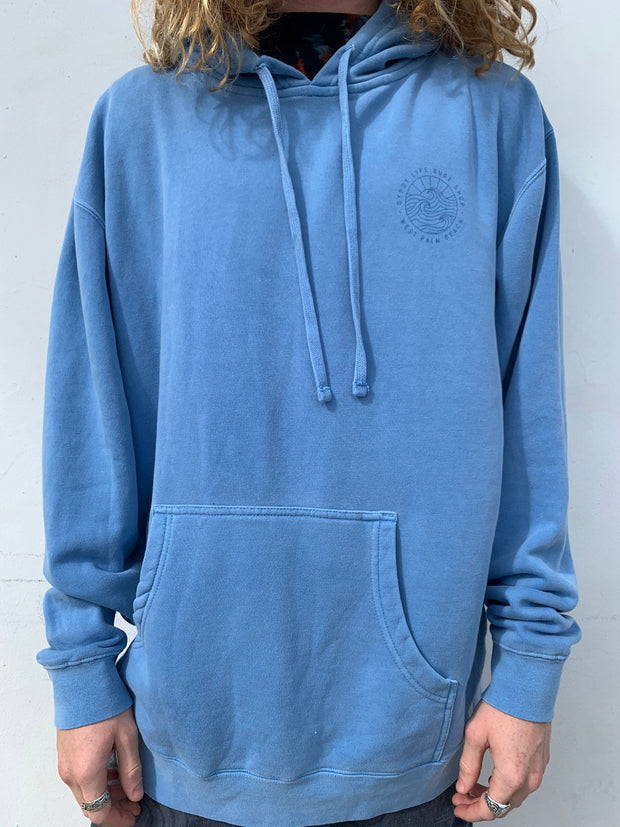 Gypsy Life Surf Shop - OG Logo - Heavyweight Pigment Light Blue Dyed Hooded Sweatshirt