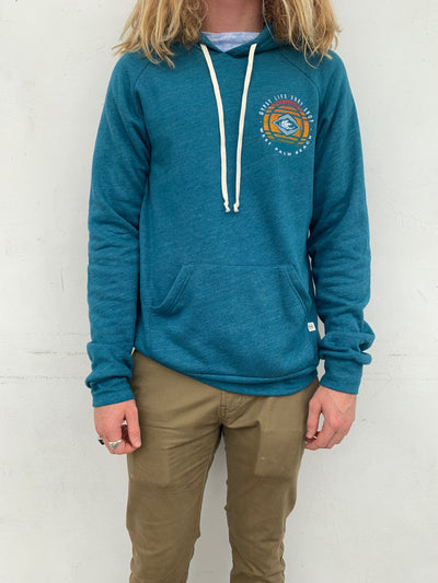 Gypsy Life Surf Shop - Men's Triblend Fleece Raglan Hoodie - Implement Waves - Dark Teal