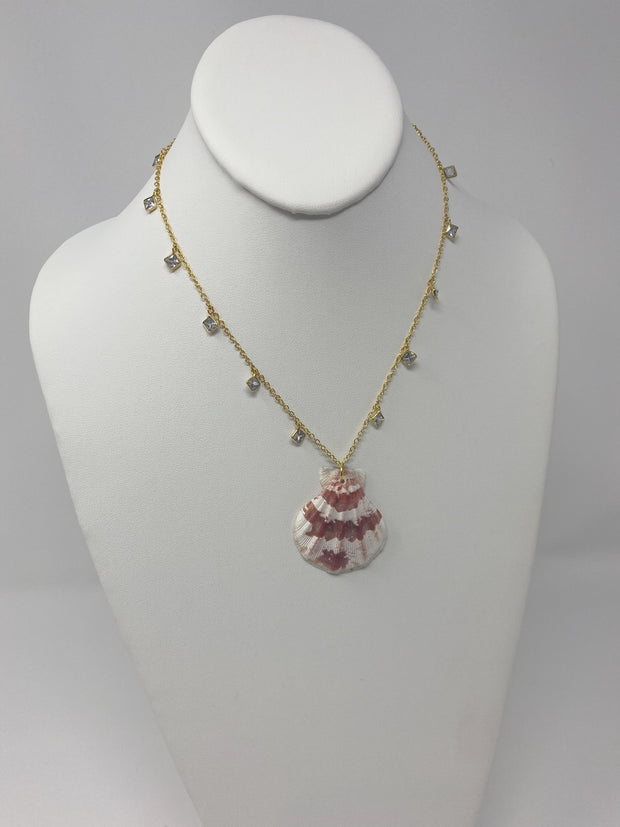 Gypsy Life Pink and White Shell Necklace - Special Edition with Crystal Chain