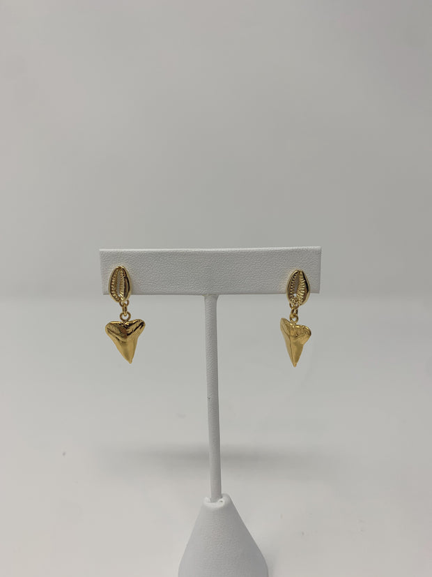 The 'Leanna' Mini Shark Tooth Dangle Earrings with Cowrie