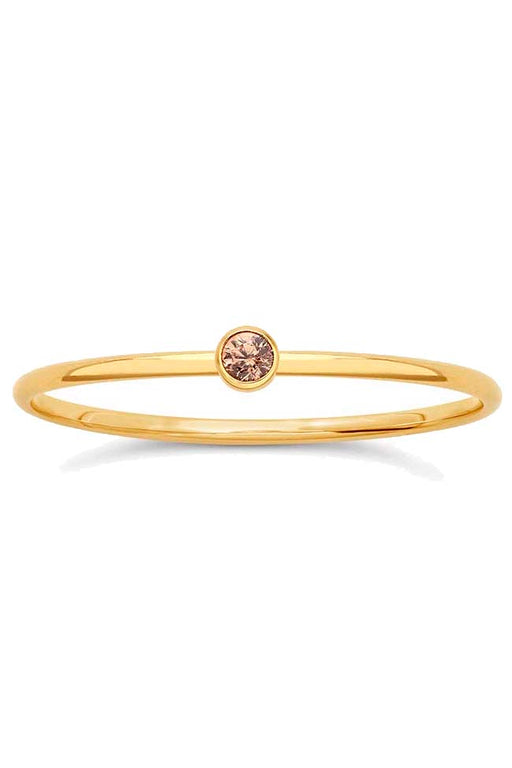 Gypsy Life Champagne Cubic Zirconia Stacking Ring - Yellow Gold-Filled