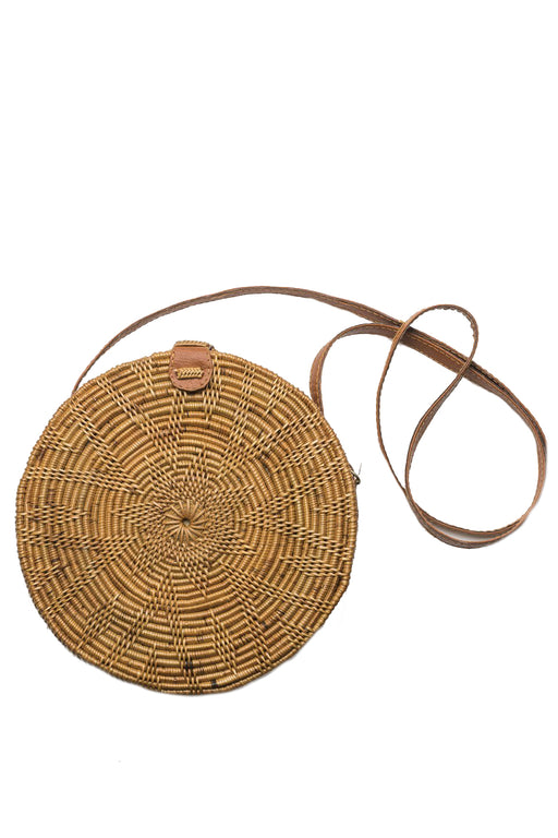 Round Rattan Bag with Flower