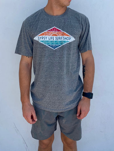 Gypsy Life Surf Shop - Men's Triblend Tee - Hallena Sun/Wave - Heather Grey