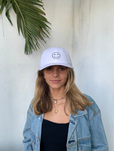 Smiley Dad Hat - White