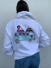 Gypsy Life Surf Shop - VW Van Vibes with Stacked Logo - Long Sleeve Hoodie - White - Independent