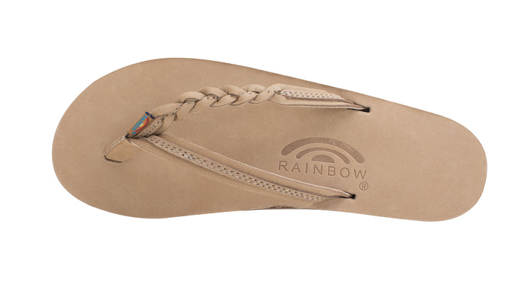 Women's Flirty Braidy - Single Layer Premier Leather with Arch Support with a Braided Strap - Sierra