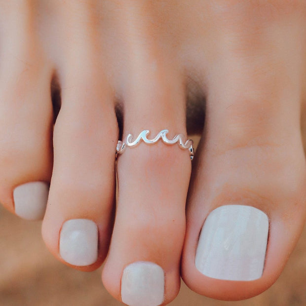 Wave Band Toe Ring - Silver