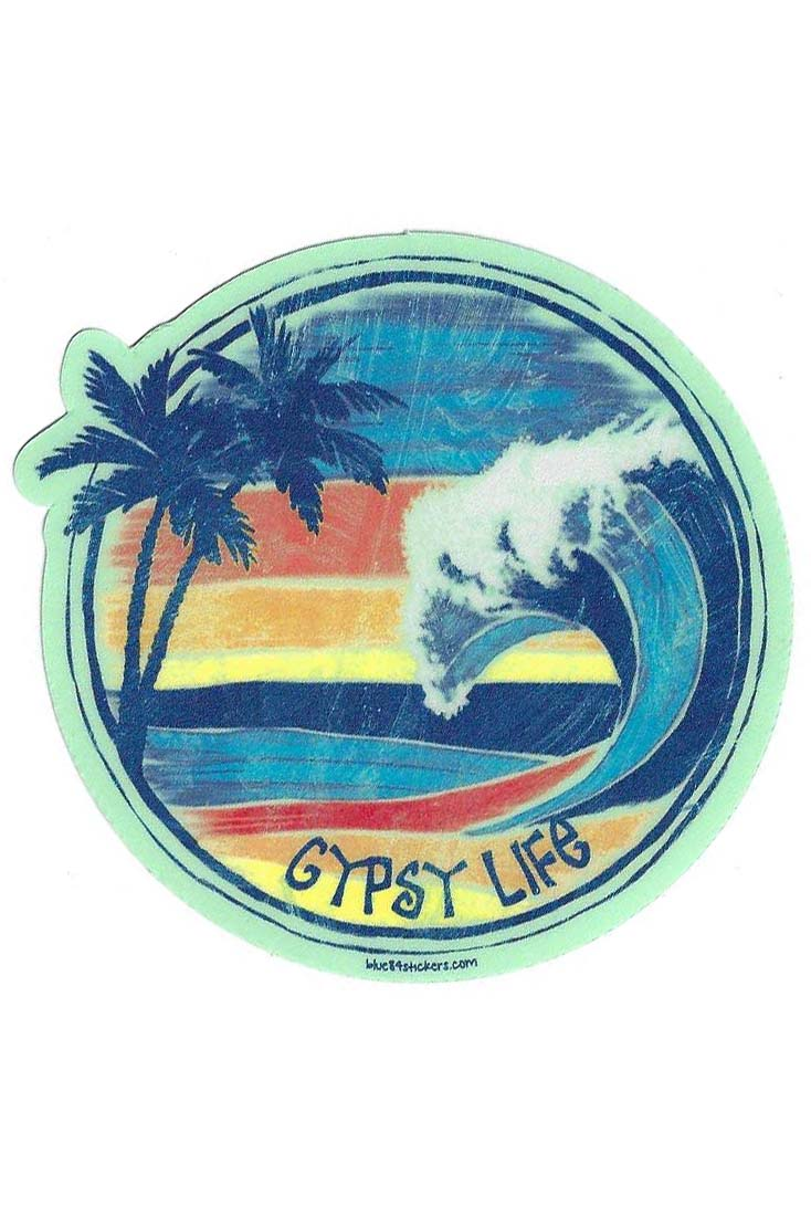 Gypsy Life Surf Shop Sticker - Kinkle Palms/Wave