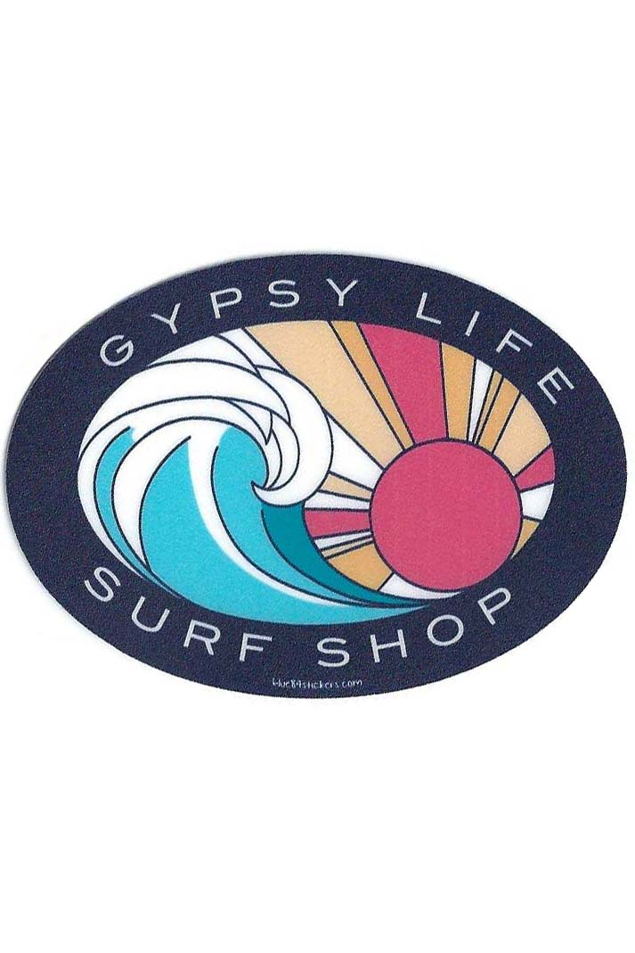 Gypsy Life Surf Shop Sticker - Riding On Wave/Sun