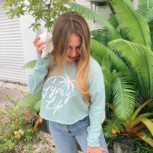 Gypsy Life Surf Shop - Palm Steeze - Cropped Crew Neck - Dusty Blue