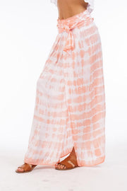Grand Cayman Skirt - Peach Stripe Tie Dye