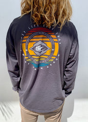 Gypsy Life Surf Shop - Dyed Ringspun Long Sleeve Tee - Implement Waves - Coal