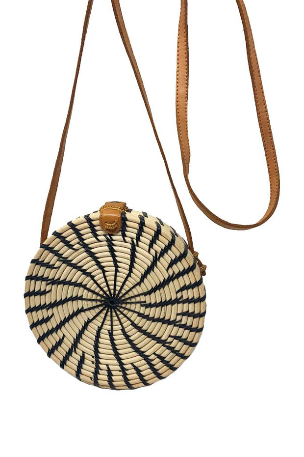 Round Rattan Bag - Black and White