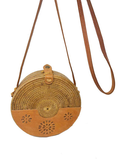 Round Rattan Bag with Leather Detail