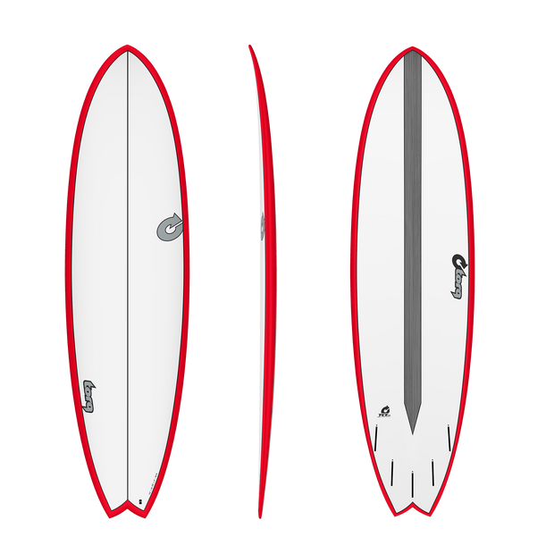 "7'2"" Fish Pinline Red with White Deck - TET-CS"