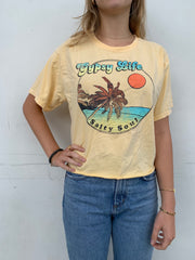 Gypsy Life Surf Shop - Cropped Ringspun Tee - Ferngully Beach/Palms - Butter
