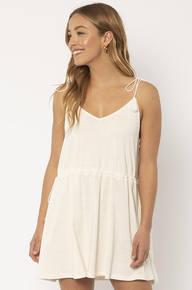 Washed Ashore Knit Tank Dress - Vintage White