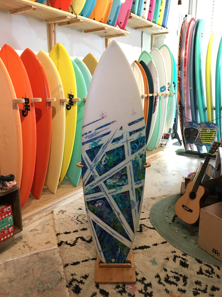 5'7 Lopez Epoxy - Blue Purple Pattern Artwork
