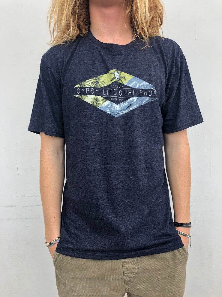 Gypsy Life Surf Shop - Men's Triblend Tee - Evasive Palms/Wave - Navy