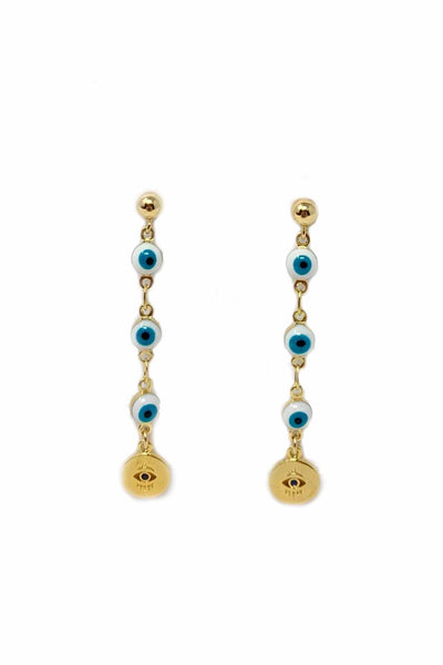 Gypsy Life Evil Eye Gold Chain Earrings with Gold Accent
