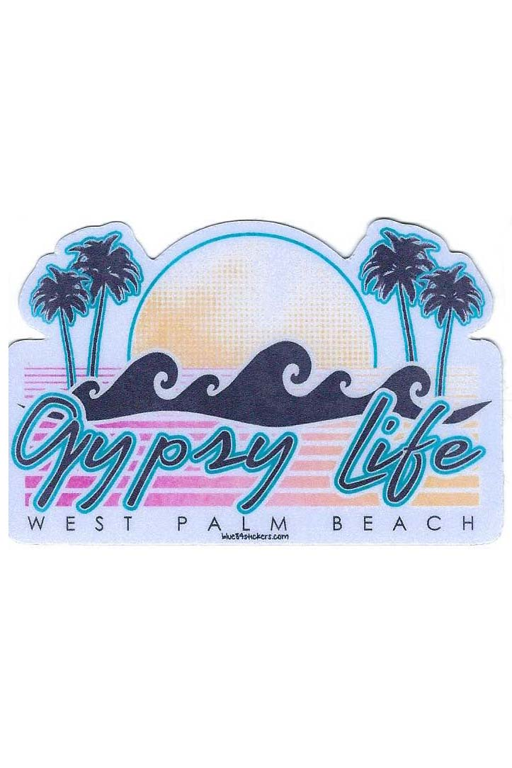 Gypsy Life Surf Shop Sticker - Stripe Type Palms