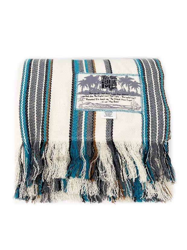Senor Lopez Beach Blanket - Turquoise/Grey/Brown