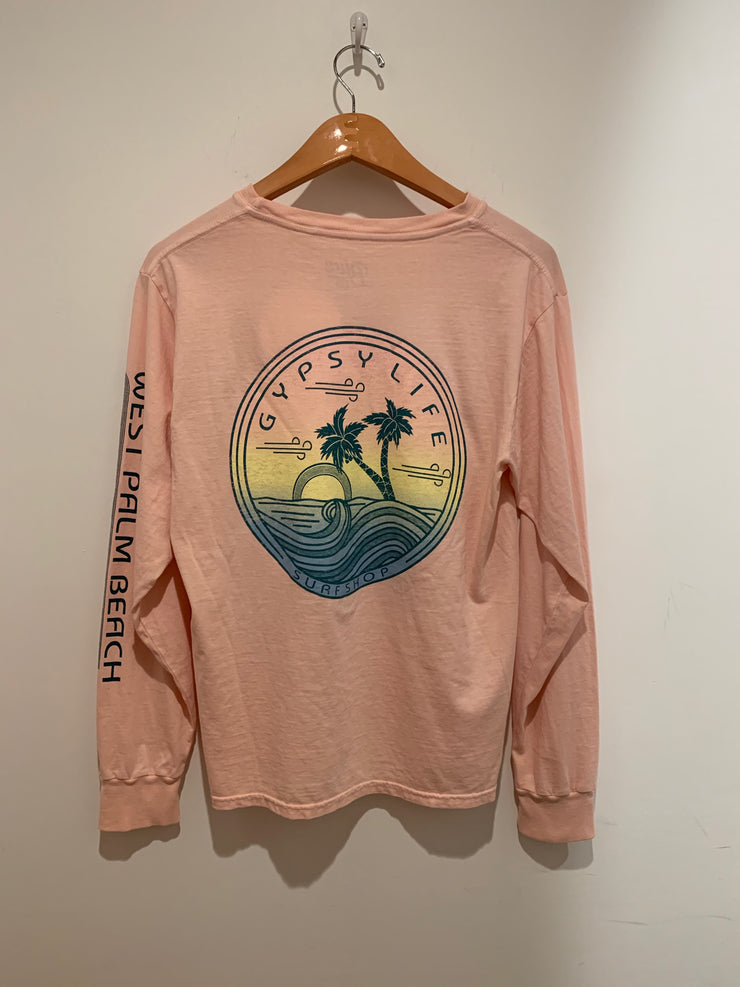 Gypsy Life Surf Shop - Wirery Palms - Dyed Ringspun Long Sleeve Tee - Shell Pink