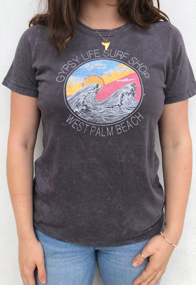 Gypsy Life Surf Shop - Mineral Wash Tee - Bossanova Wave and Sun - Charcoal