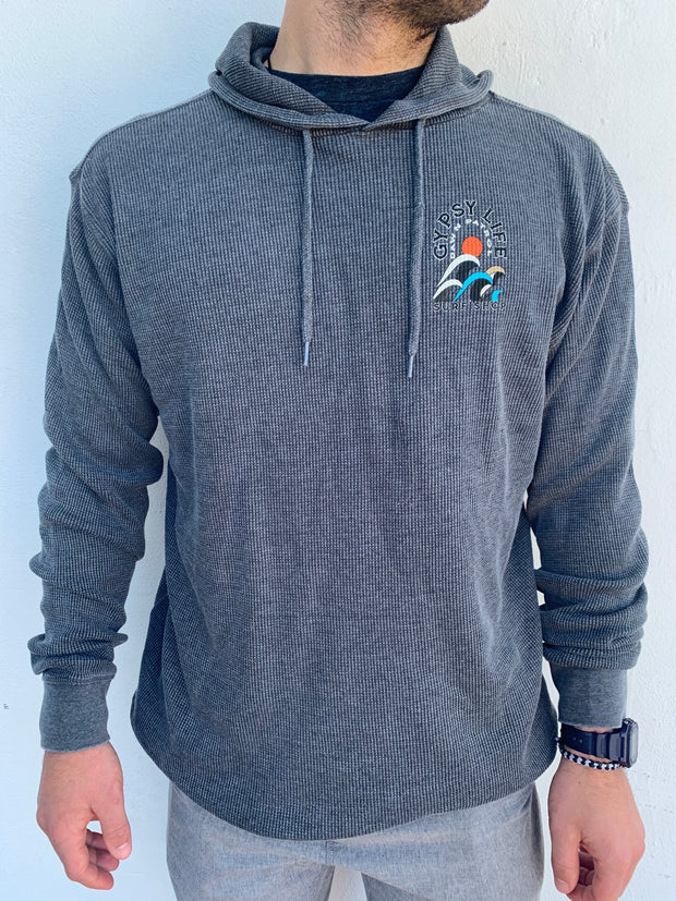 Gypsy Life Surf Shop - Men's Burnt Washed Thermal Hood - Campari Waves - Charcoal