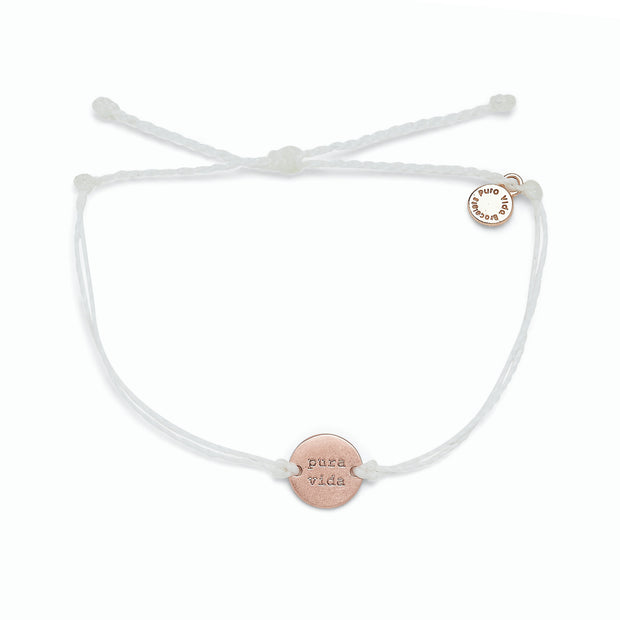 Pave Wave Coin Rose Gold Bracelet - White