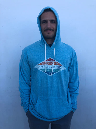 Gypsy Life Surf Shop - Men's Triblend Hooded LS Shirt - Hallena Sun/Wave - Turquoise