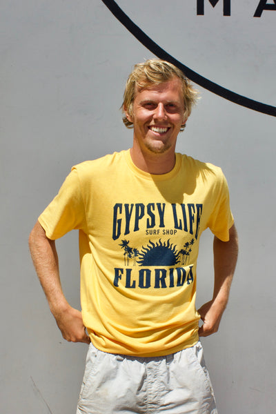 Gypsy Life Surf Shop - Men's Triblend Tee - Fantods Sun/Palms - Golden