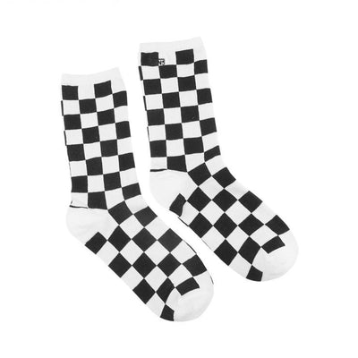 Ticker Black Checkerboard Women's Crew Socks