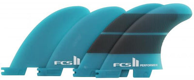FCS II Performer Neo Glass Medium Quad Fins - Teal