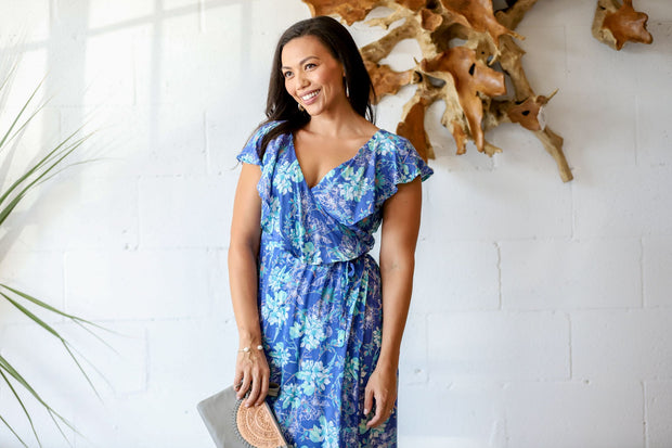 Dalia Wrap Dress - Azure Orchid