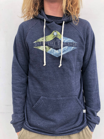 Gypsy Life Surf Shop - Men's Triblend Fleece - Evasive Palms/Wave - Navy