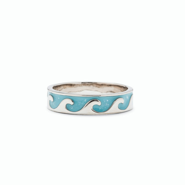 Reversible Mother of Pearl Wave Ring - Silver