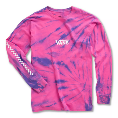 Tie Dye Checker LS Tee - Fuschia