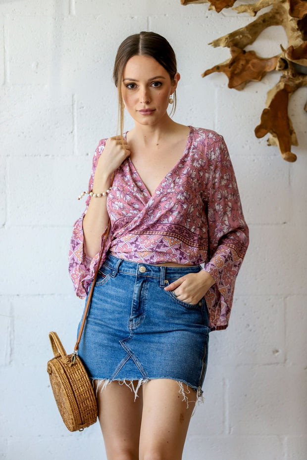 Bahama Wrap Top - Pink Blossom