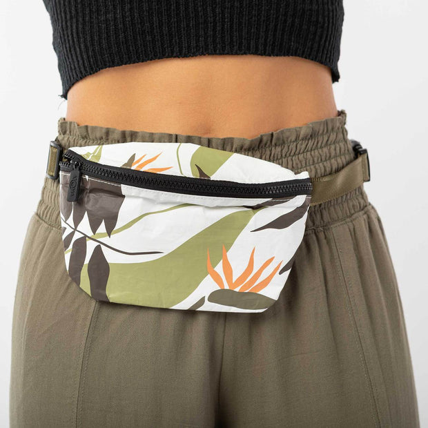 Mini Hip Pack - Painted Birds - Neutrals/White