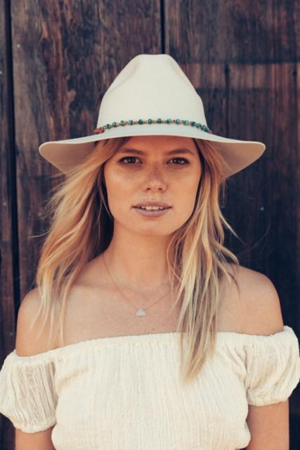 Brooklyn Fedora in Navajo White with Turquoise Wrap