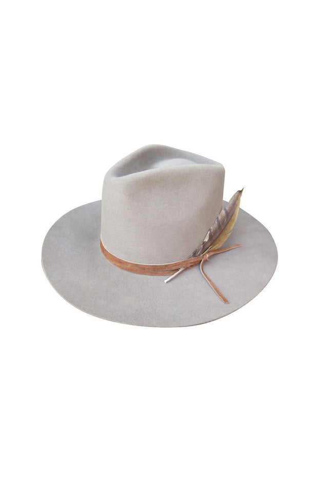 Latigo Fedora in Morning Fog with Wrapped Leather and Feather