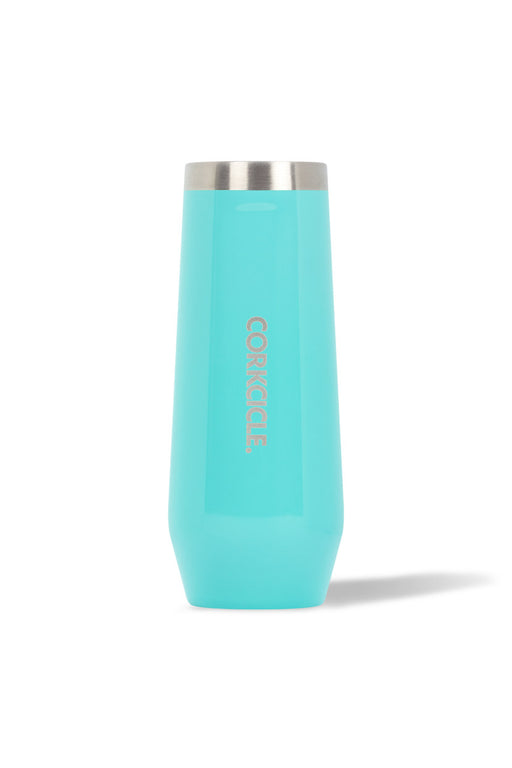 Stemless Flute - 7oz Gloss Turquoise