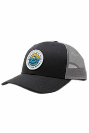 Gypsy Life Surf Shop Hat - Charcoal/Grey with White Trim on Logo