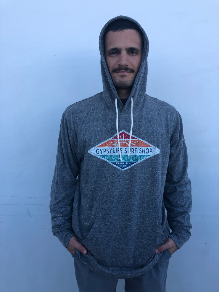 Gypsy Life Surf Shop - Men's Triblend Hooded LS Shirt - Hallena Sun/Wave - Heather Grey