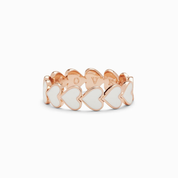 Love Hearts Enamel Band Ring - Rose Gold