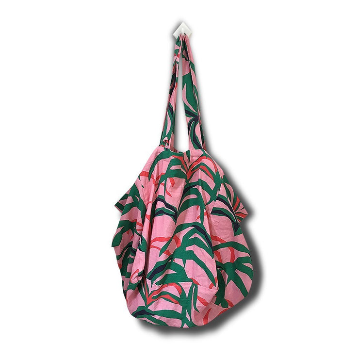 Linen Tote Bag with Palm Print - Pink