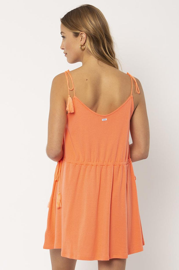 Washed Ashore Knit Tank Dress - Coral Flame