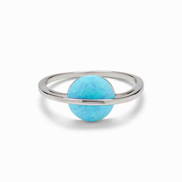 Opal Saturn Ring - Silver