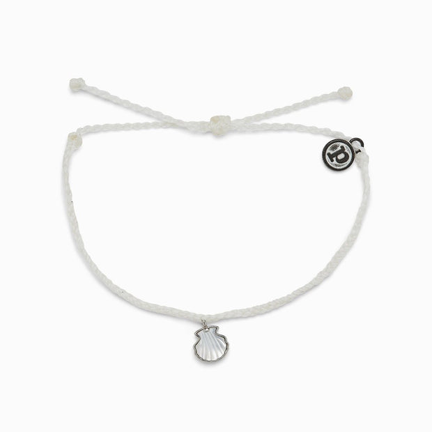 Real Shell Silver Bracelet - White